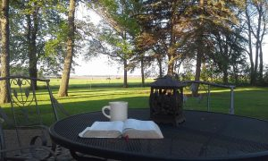 open Bible with coffee cup on patio table overlooking horse pasture